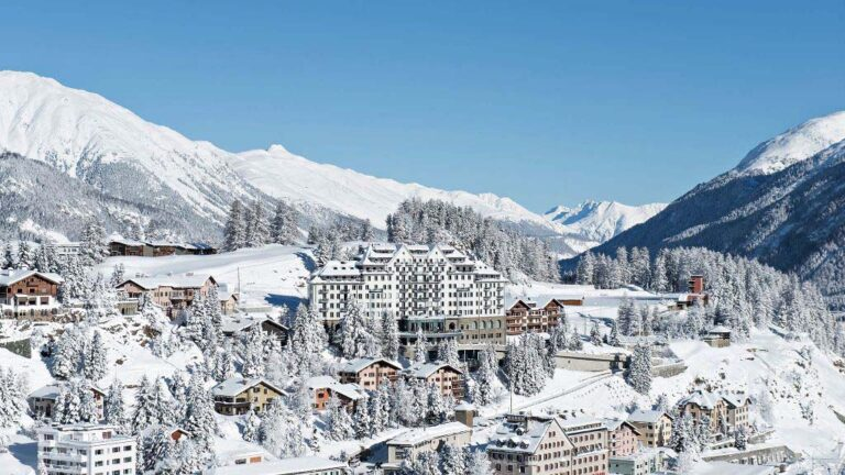 The beautiful St Moritz in Switzerland on the snowy Alps