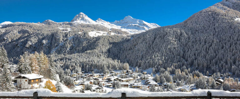 The Italian municipality with a layer of candid white fresh snow. Italy