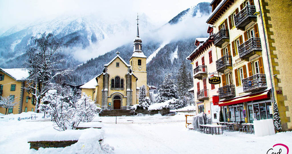 French Alps in winter, street view and snow mountains