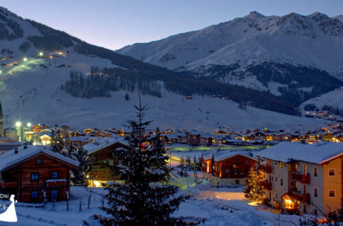 Amazing view of italian alpine village in winter with snow. Italy