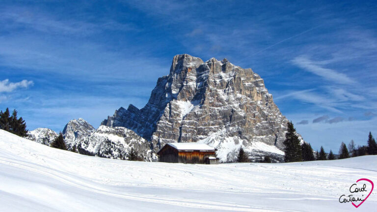Monte Pelmo is a mountain of the Italian Dolomites. Italy - Winter landscape