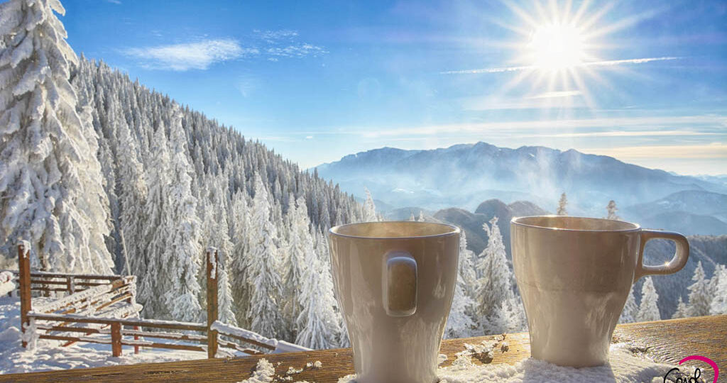 Breakfast in the mountains - winter Alps